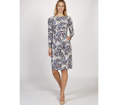 Sydney Long Sleeve Printed Dress by Onjenu London