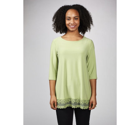 3/4 Sleeve Hi Lo Hem Tunic  with Crochet Lace Detail by Nina Leonard