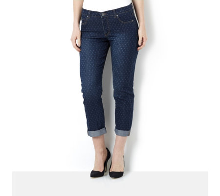 Women with Control Polka Dot Stretch Denim Jean