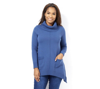 Ribbed Cowl Neck Jumper with Front Pockets by Nina Leonard - 162211