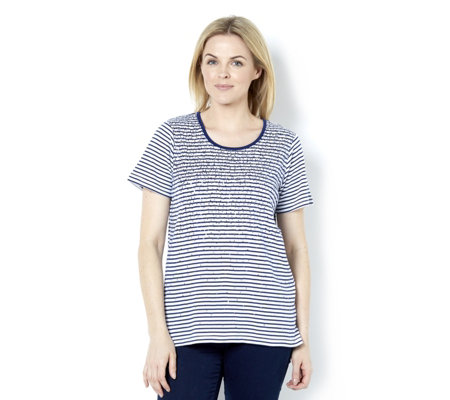 Quacker Factory Short Sleeve Sequin Detail Stripe T Shirt