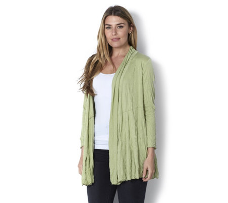 Yong Kim Crinkle Long Line Edge to Edge Cardigan