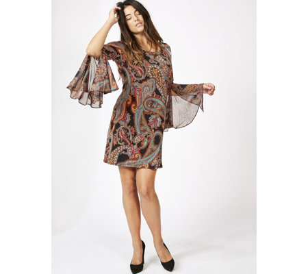 Coco Bianco Printed Flared Sleeve Dress