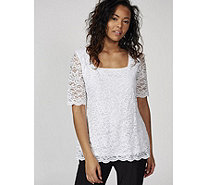 Ruth Langsford Stretch Lace Short Sleeve Zip Back Top - 170111