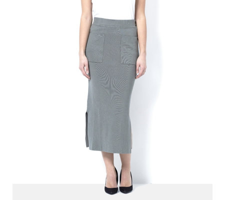 MarlaWynne Fitted Knit Skirt with Front Patch Pockets
