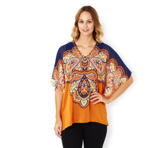 Printed Chiffon Embellished Scarf Top and Plain Tank by Susan Graver - 164112