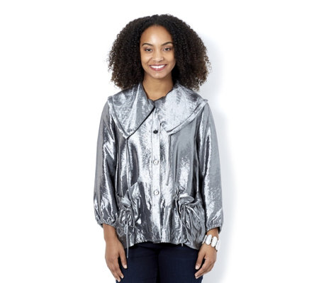 MarlaWynne Metallic Drawstring Detail Jacket