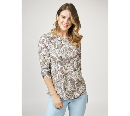 Kim & Co Feather Paisley Brushed Venechia Boat Neck Top