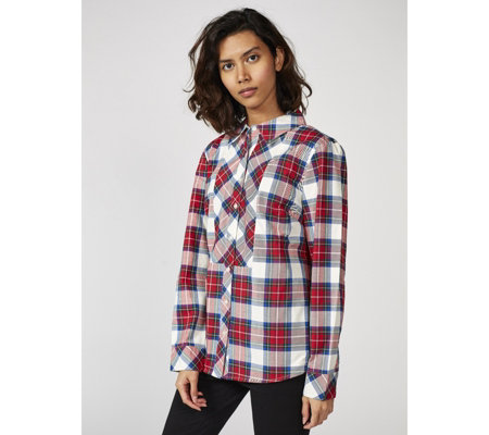 Denim & Co. Stretch Weave Plaid Shirt
