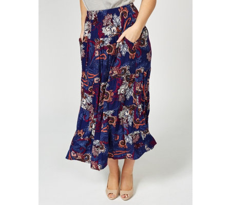 Antthony Designs Printed Maxi Skirt with Tiered Ruffle Hem