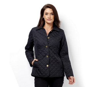 C. Wonder Water Resistant Diamond Quilted Jacket with Printed Lining - 160013