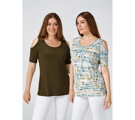 Pack of 2 Plain & Printed Cold Shoulder Tops by Nina Leonard