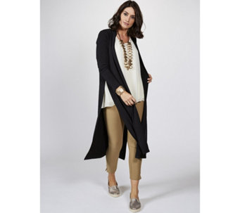 WynneLayers Matt Jersey Long Slit & Sleeve Open Front Duster Cardigan - 166913