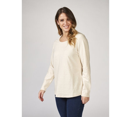 Denim & Co. Long Sleeve Scoop Neck Top with Curved Hem