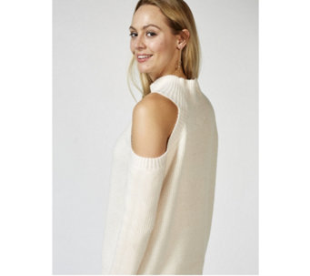 Memo Fashions Knitted High Neck Cold Shoulder Jumper - 169413