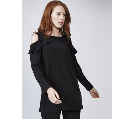 Kim & Co Brazil Knit Frill Detail Cold Shoulder Tunic