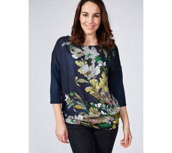 Live Unlimited London Floral Placement Satin Front Top - 171013