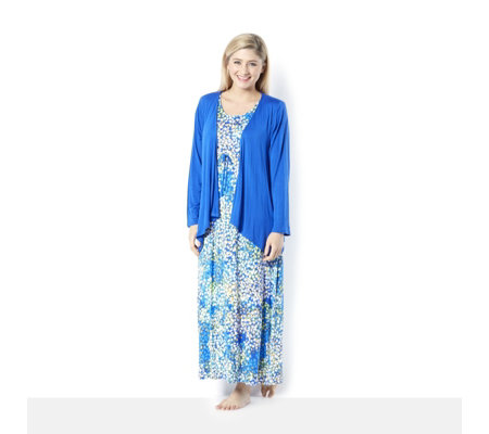Carole Hochman Short Sleeve Printed Maxi with Drape Cover Up
