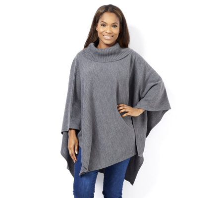 Oversized Cowl Neck Poncho by Nina Leonard