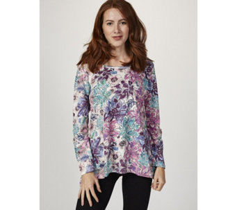 Artscapes Floral Burst Dipped Hem Tunic - 166514