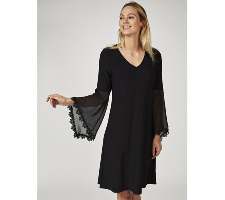 Coco Bianco Long Bell Sleeve Swing Tunic Dress with Crochet Trim