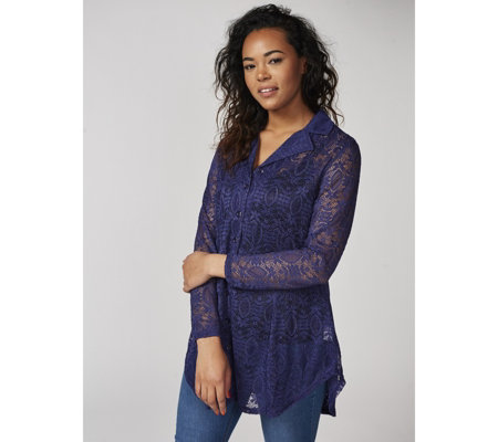 Pendant Lace Shirt with Dip Hem by Michele Hope