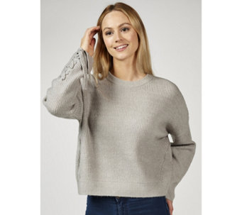 Memo Fashions Knitted Jumper with Tie Detail Sleeves - 169414