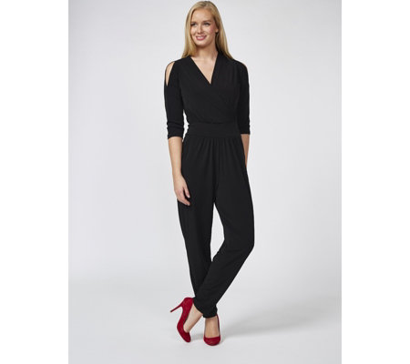 Kim & Co Brazil Knit Wrap Front Jumpsuit Regular