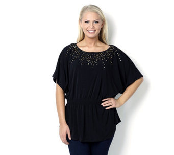 Dolman Sleeved Sequin Front Top with Smocked Waist by Nina Leonard - 114215