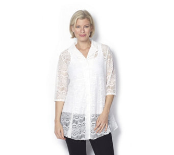 Beach Lace Shirt 3/4 Sleeves by Michele Hope - 159815