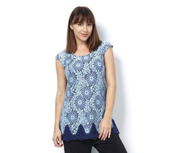 Isaac Mizrahi Live Extended Shoulder Lace Tunic - 165315