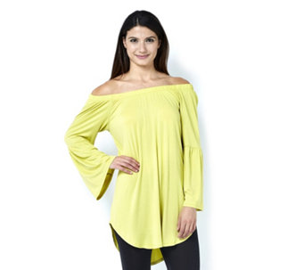 Antthony Designs Off The Shoulder Top with 3/4 Sleeves & Curved Hem - 166015