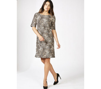 Coco Bianco Printed Scoop Neck Shift Dress - 166815