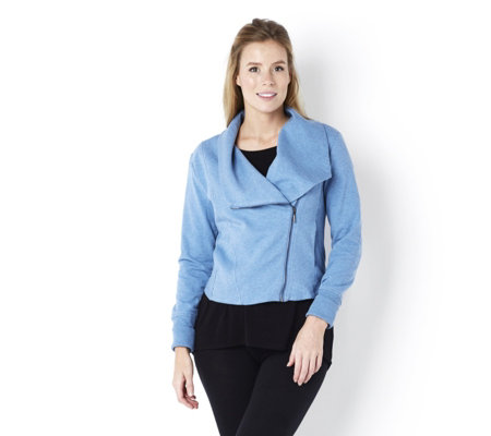 H by Halston French Terry Knit Moto Flyaway Jacket