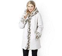 Dennis Basso Reversible Faux Fur Hooded Puffer Coat - 156916