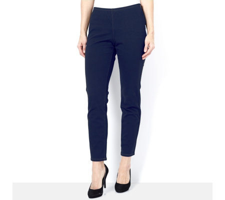 MarlaWynne Straight Leg Denim Trouser with Side Zip Detail