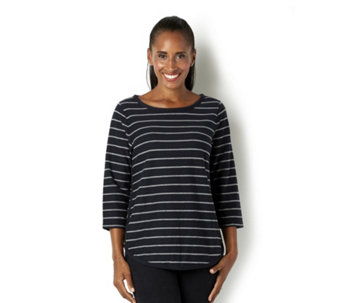 C. Wonder Stripe French Terry Top with Side Button Detail - 160016