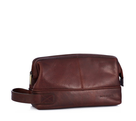Smith & Canova Men's Leather Aspen Wash Bag