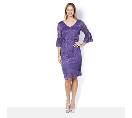 V Neck Stretch Lace Dress with Bell Sleeves by Nina Leonard
