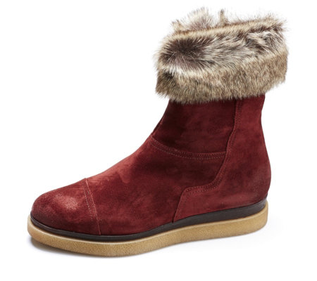 Manas Suede Ankle Boot with Faux Fur Trim