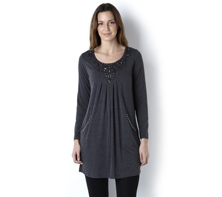 Together Lace Front Stud Jersey Long Tunic