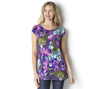 Kim & Co Exotic Irises Venechia Cap Sleeve Swing Tunic - 146117