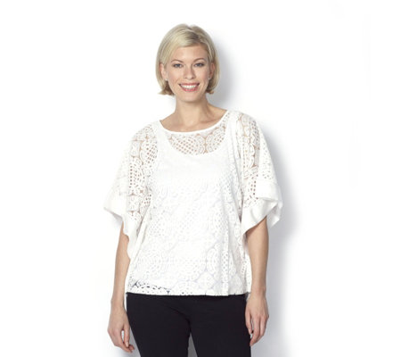 Andrew Yu Lace Burnt Out Kimono Top