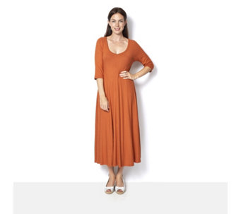 Join Clothes Rib Jersey 3/4 Sleeve Dress - 161817