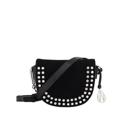 Amanda Wakeley Midi Cooper Small Leather Crossbody Bag with Stud Embellishment