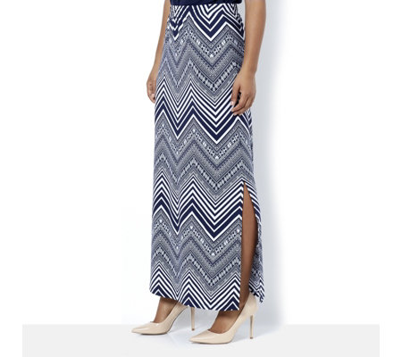 Printed Liquid Knit Maxi Skirt with Slit by Susan Graver
