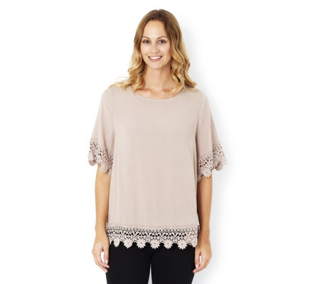 Fashion by Together Crinkled Woven Lace Detail Top