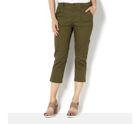 Denim & Co. Stretch Twill Crop Trouser with Cargo Pocket Detail