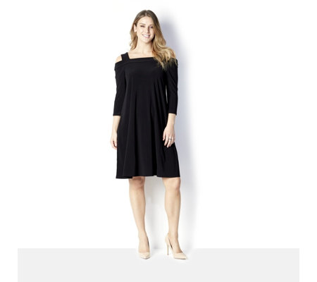 3/4 Sleeve Cold Shoulder Dress by Nina Leonard