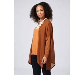 WynneLayers Mixed Media Dolman Sleeve Open Front Cardigan with Side Slits - 166917
